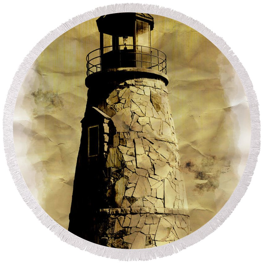 Lighthouse Round Beach Towel featuring the photograph Lighthouse by Adam Vance