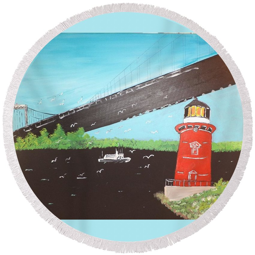 Acrylic Round Beach Towel featuring the painting Lighthouse And Bridge by Donald Northup