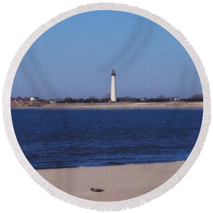 Lighthouse Round Beach Towel featuring the photograph Lighthouse at the Point by Pharris Art