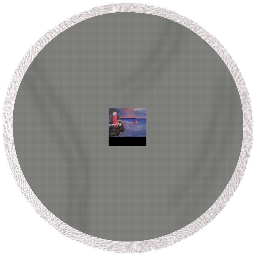 Round Beach Towel featuring the painting Lighthouse by Bethany Hannigan