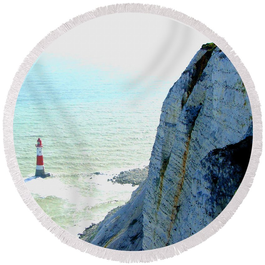 Lighthouse Round Beach Towel featuring the photograph Lighthouse by Heather Lennox