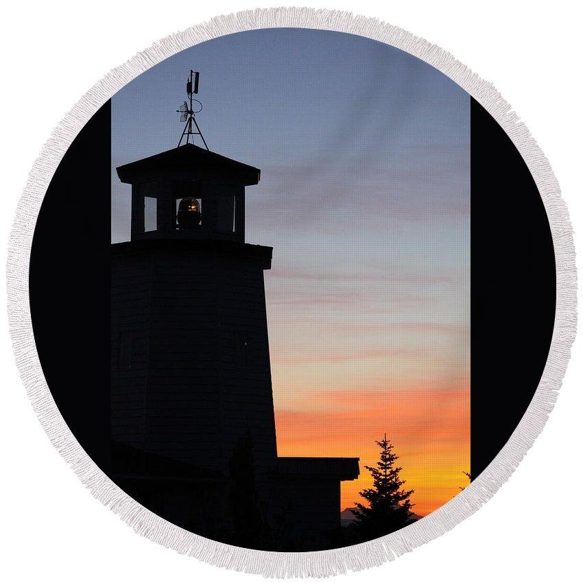 Lighthouse In The Sunset 2 Round Beach Towel featuring the photograph Lighthouse In The Sunset 2 by Lori Mahaffey