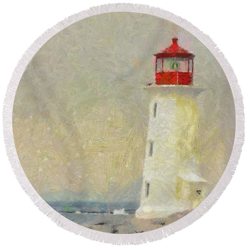 Canadian Round Beach Towel featuring the painting Lighthouse by Jeffrey Kolker
