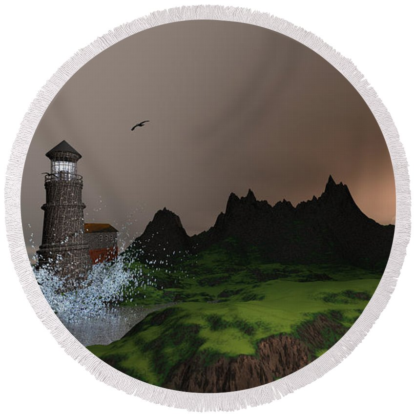 Art Round Beach Towel featuring the digital art Lighthouse Landscape By John Junek Fine Art Prints And Posters by John Junek