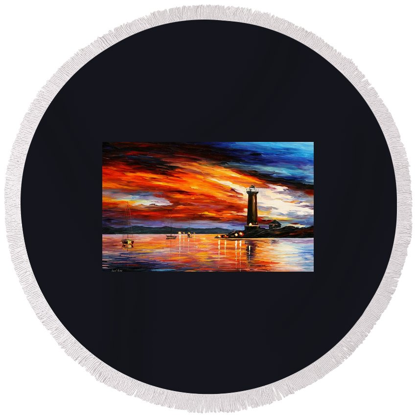 Afremov Round Beach Towel featuring the painting Lighthouse by Leonid Afremov