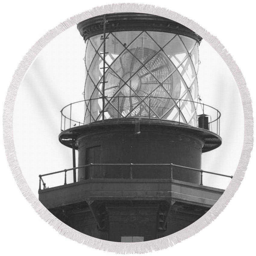 Landscape Round Beach Towel featuring the photograph Lighthouse Light by Rob Hans