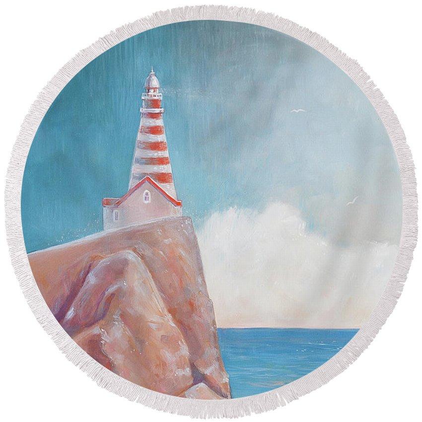 Lighthouse Round Beach Towel featuring the painting Lighthouse by Olga Yatsenko