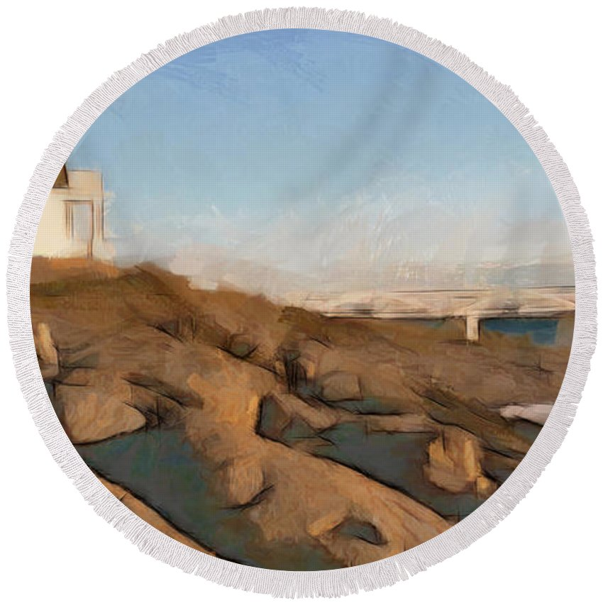 Lighthouse Poster Round Beach Towel featuring the painting Lighthouse On The Ocean by Sergey Lukashin
