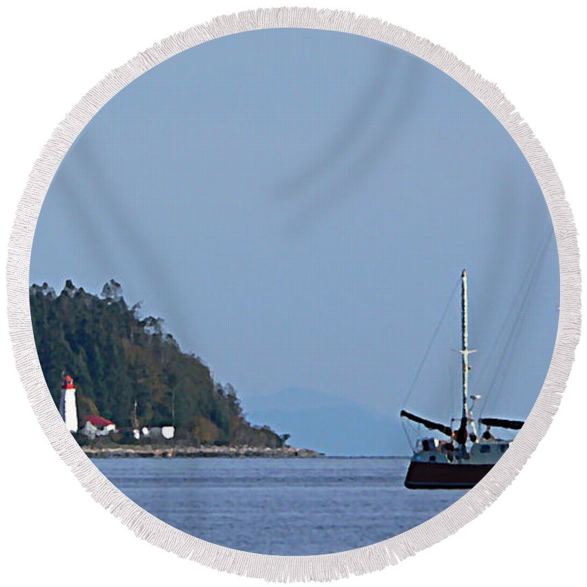 Sailboat Round Beach Towel featuring the photograph Lighthouse Sailing Vancouver Island Bc by Barbara St Jean