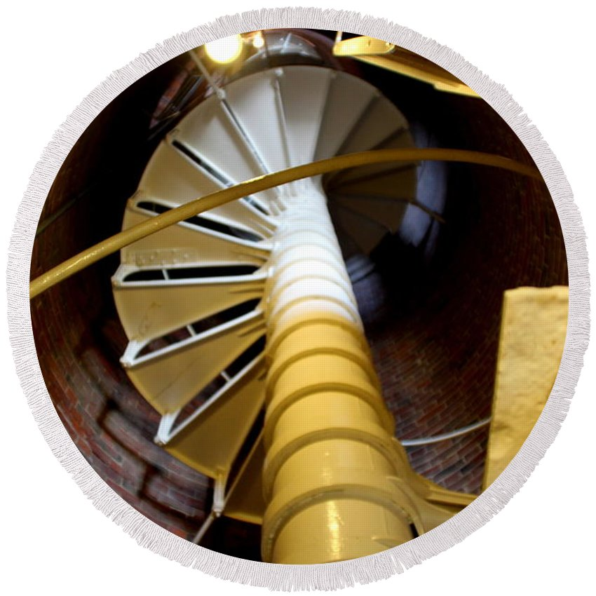 Boston Round Beach Towel featuring the photograph Lighthouse Stairway by Lennie Malvone