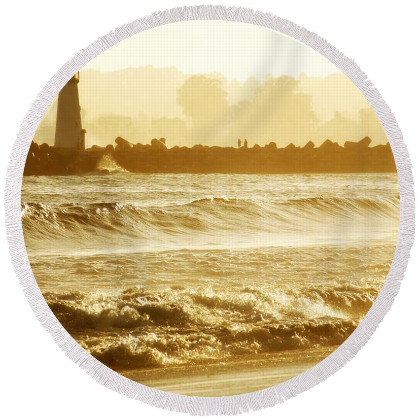 Lighthouse Round Beach Towel featuring the photograph Lighthouse Sunset by Marilyn Hunt