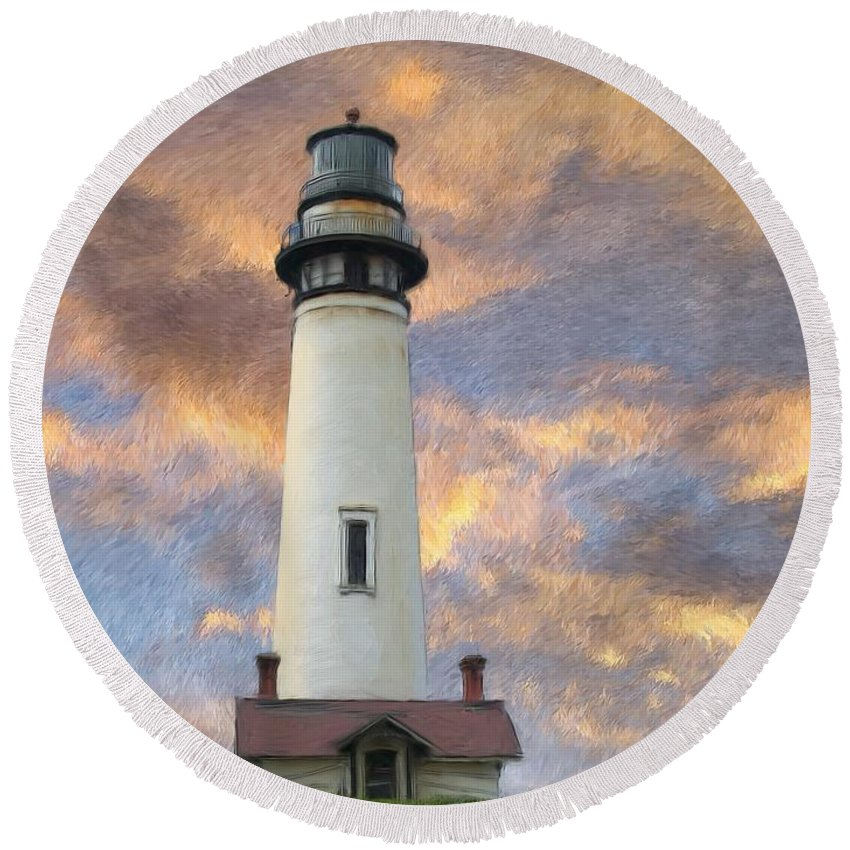 Lighthouse Art Round Beach Towel featuring the digital art Lighthouse Visitors by Snake Jagger