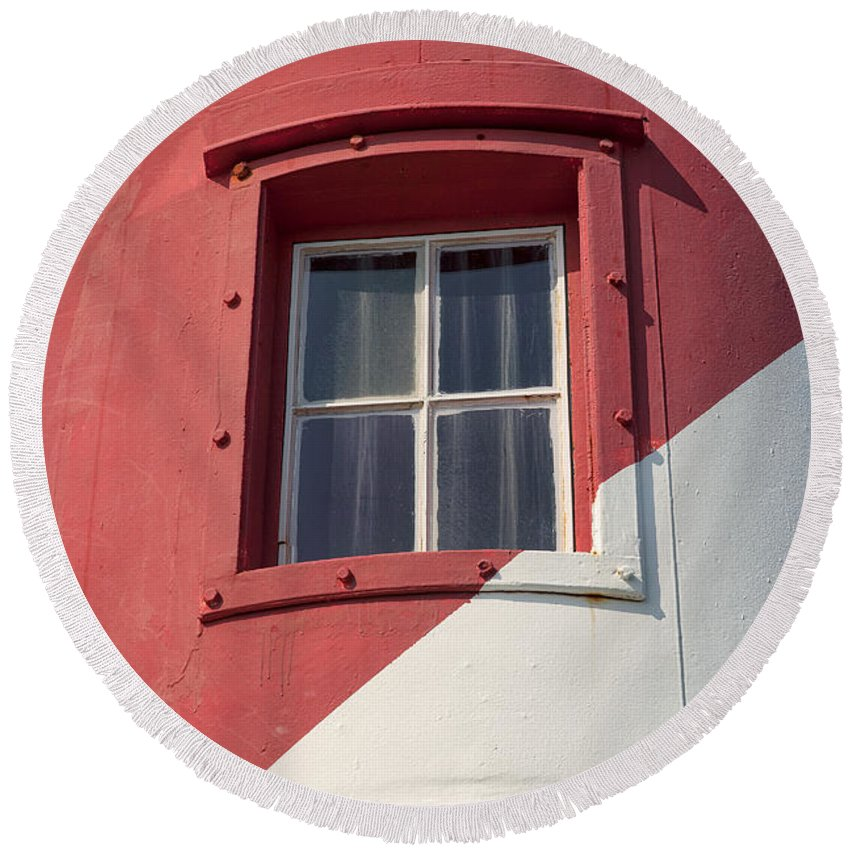 Lighthouse Round Beach Towel featuring the photograph Lighthouse Window by Eunice Gibb