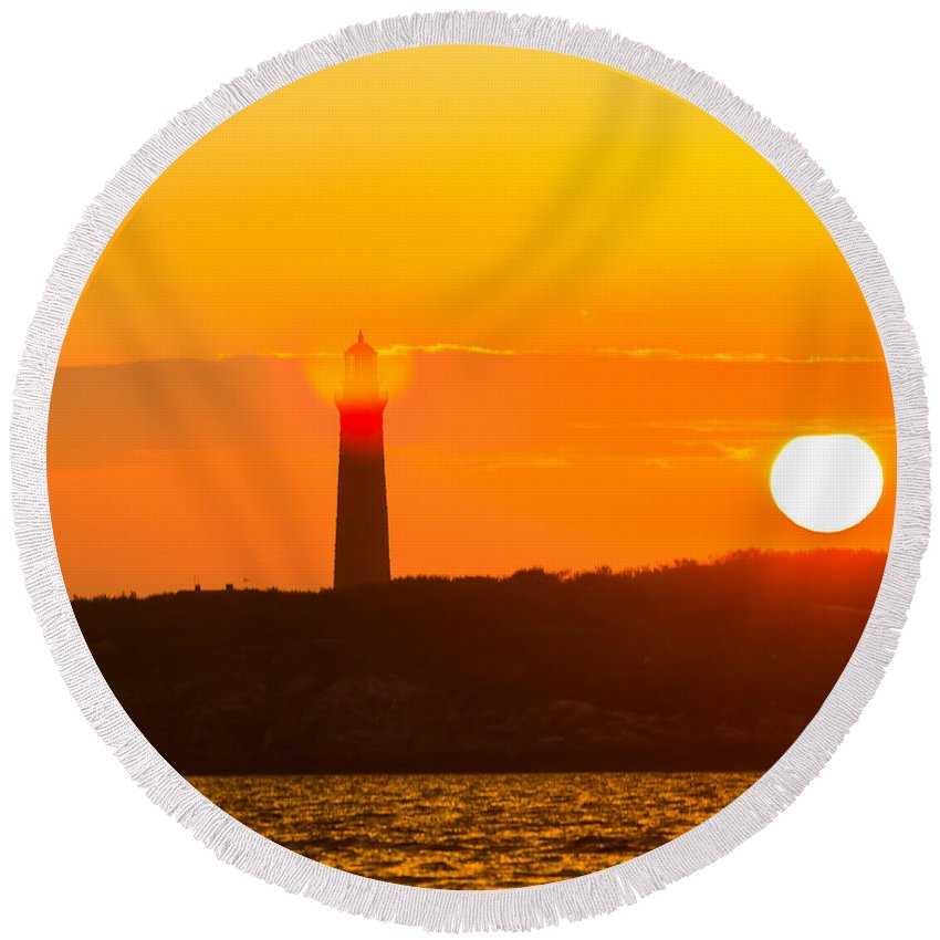 Lighthouse Round Beach Towel featuring the photograph Lighthouse With Flare by Tim Kirchoff