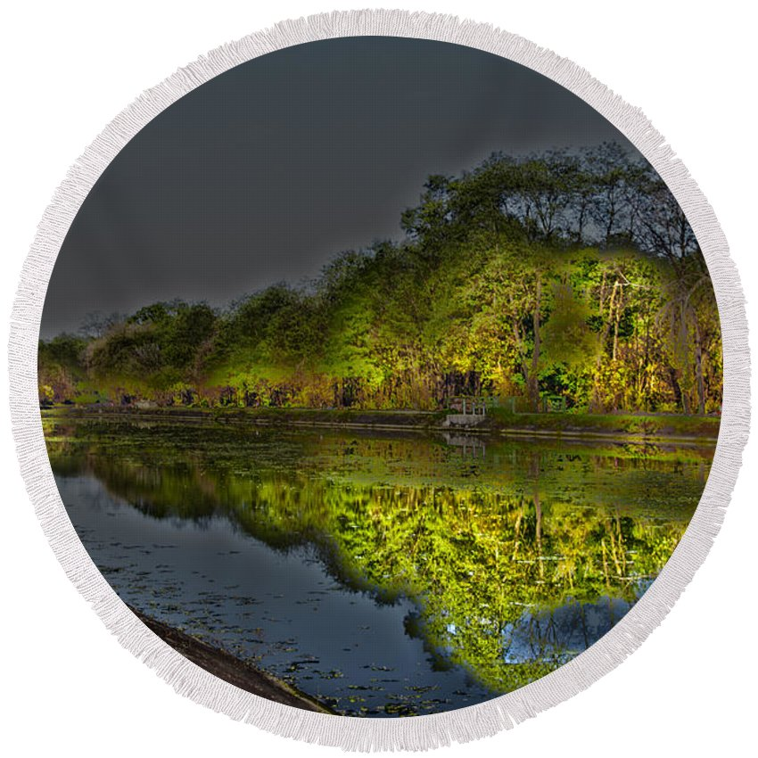 Reflection Round Beach Towel featuring the photograph Lighting The Erie Canal by William Norton
