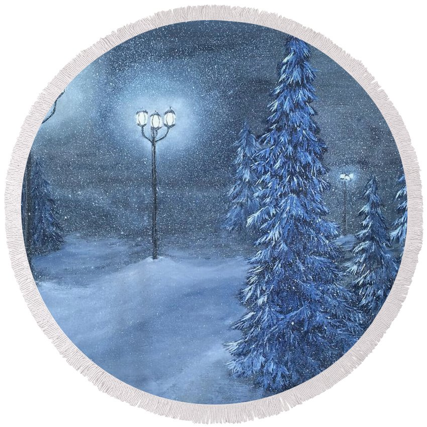 Snow Round Beach Towel featuring the painting Lighting The Way Home 3 by J O Huppler