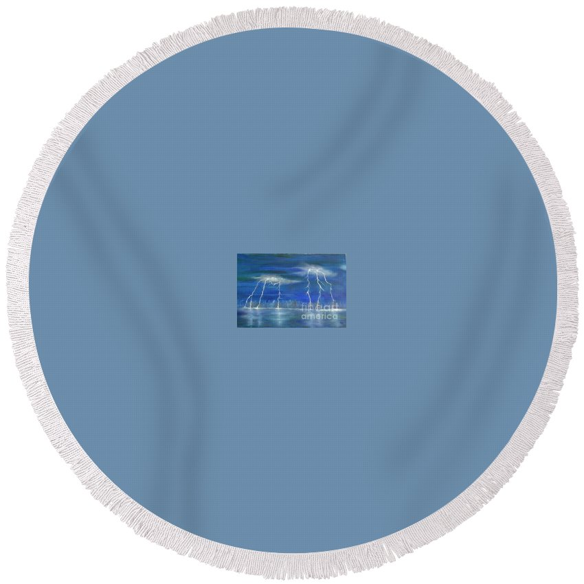 Lake Round Beach Towel featuring the painting Lightning By The Lake Original Oil Painting by Anthony Morretta
