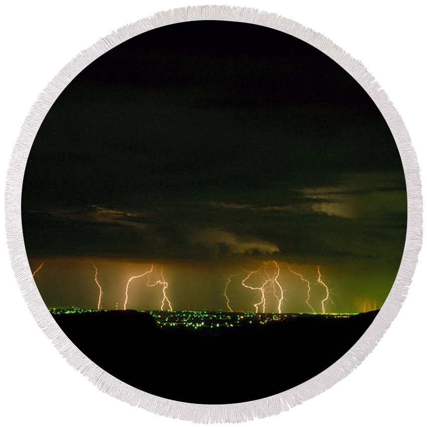 Weather Round Beach Towel featuring the photograph Lightning Over Denver by Jerry McElroy