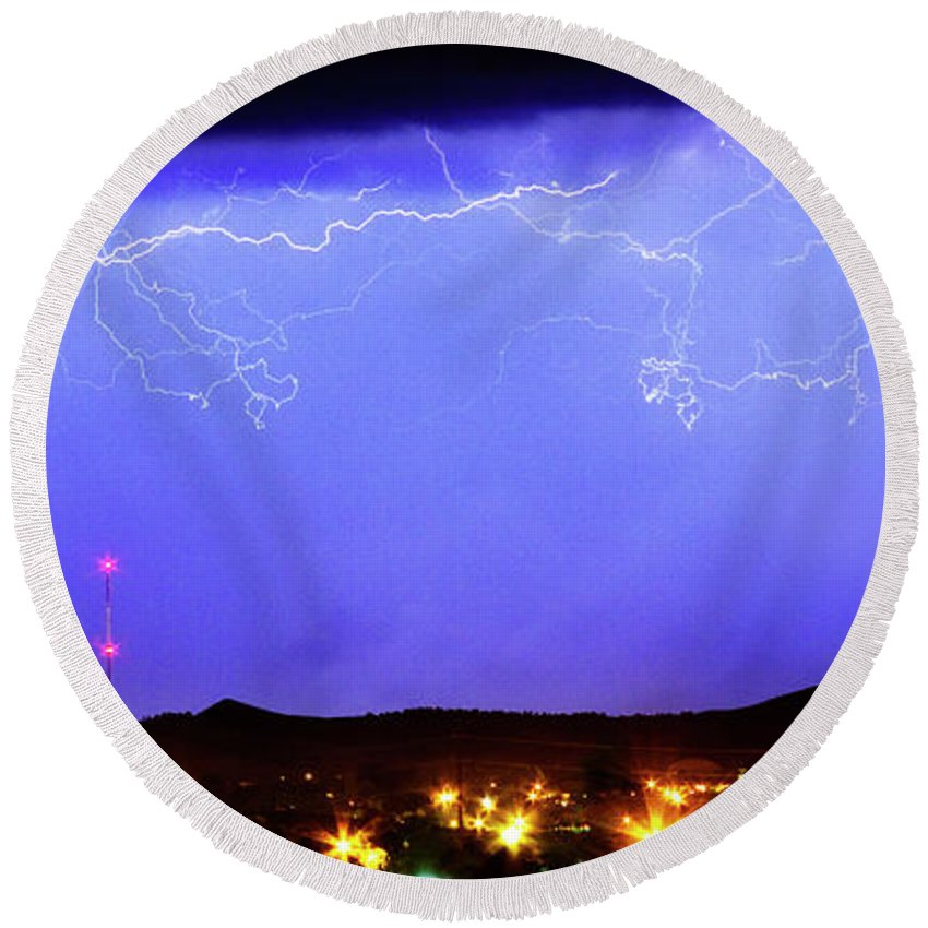 Loveland Round Beach Towel featuring the photograph Lightning Over Loveland Colorado Foothills Panorama by James BO Insogna