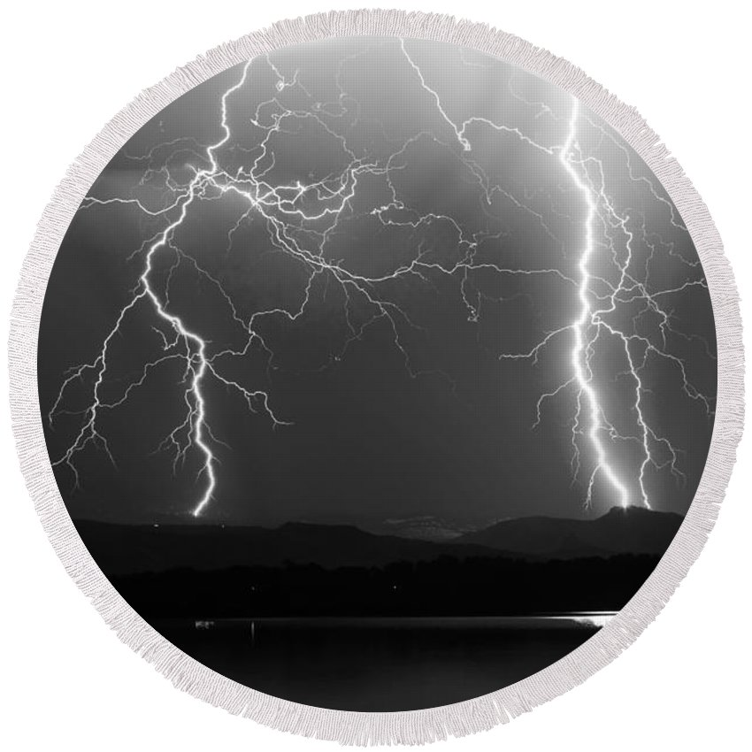 Lightning Round Beach Towel featuring the photograph Lightning Storm 08.05.09 Bw by James BO Insogna