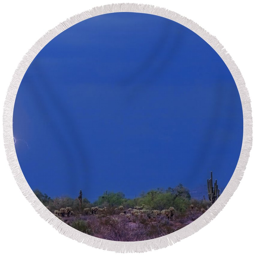 Lightning Round Beach Towel featuring the photograph Lightning Strike In The Desert by James BO Insogna