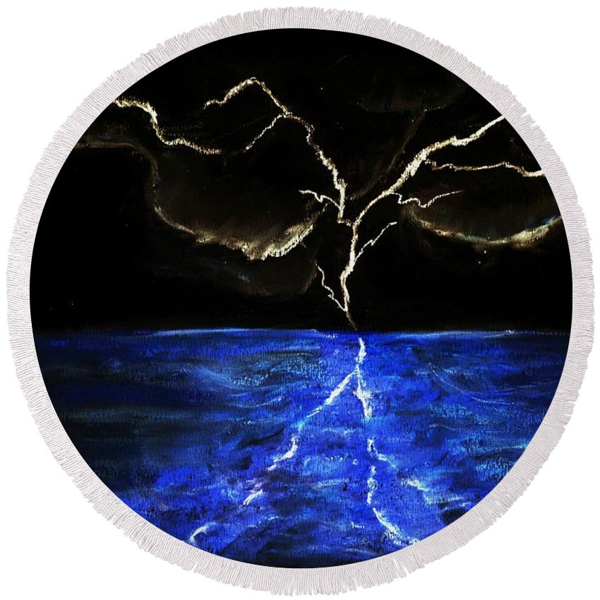 Lighting Round Beach Towel featuring the drawing Lightning Strikes by Melvin Moon