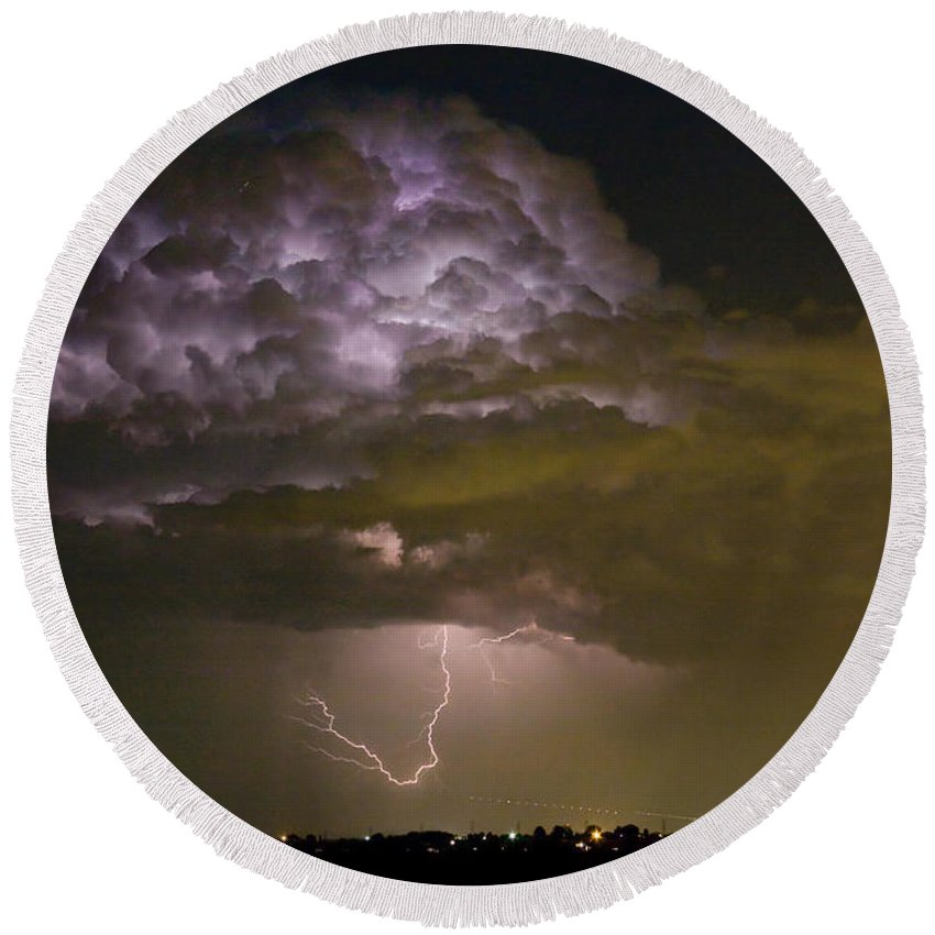 Striking Round Beach Towel featuring the photograph Lightning Thunderstorm With A Hook by James BO Insogna