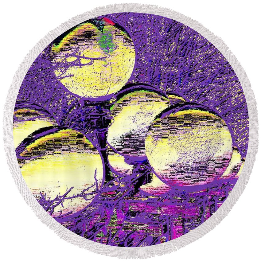 Landscape Round Beach Towel featuring the digital art Lights Along The Way 4 by Tim Allen