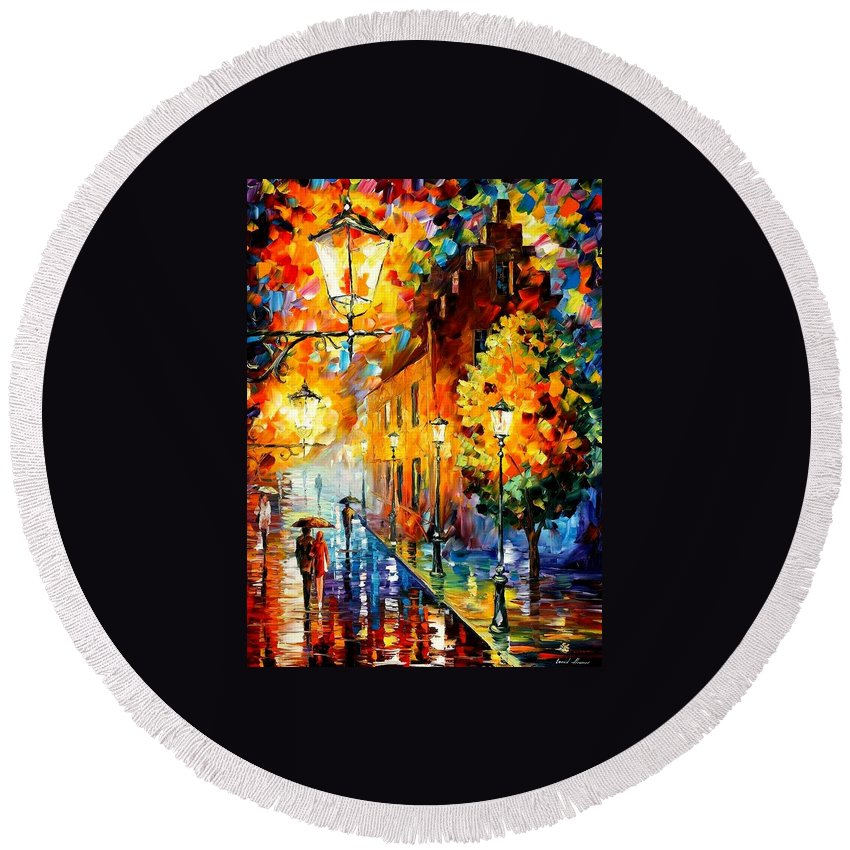 Afremov Round Beach Towel featuring the painting Lights In The Night by Leonid Afremov