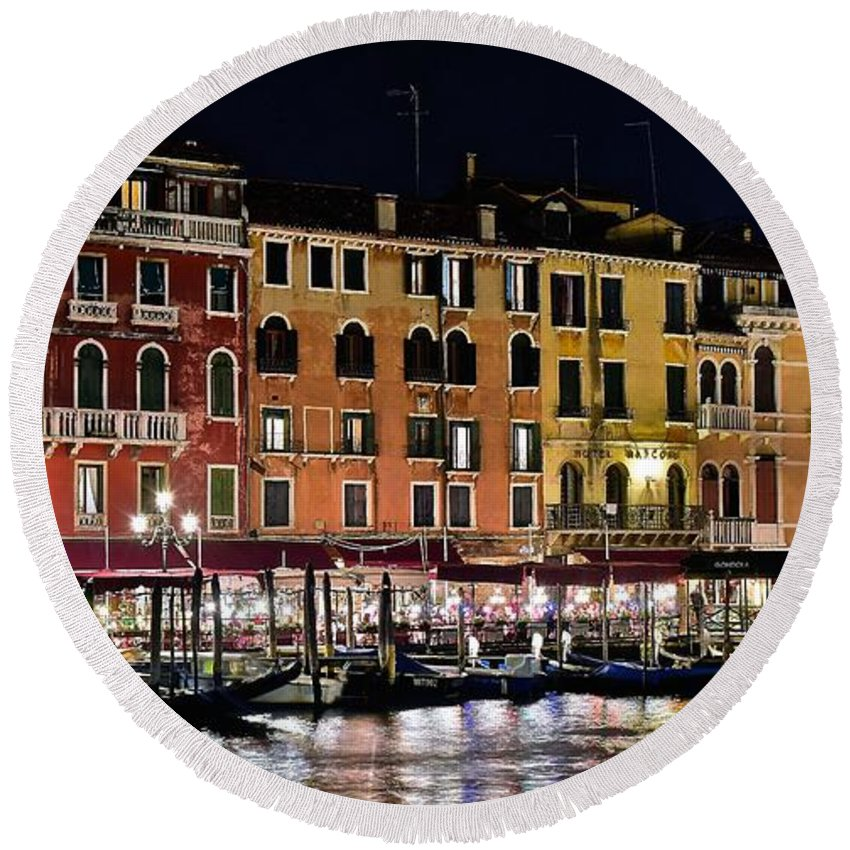 Venice Round Beach Towel featuring the photograph Lights Of Venice by Frozen in Time Fine Art Photography