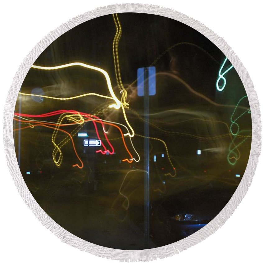 Photograph Round Beach Towel featuring the photograph Lights That Attack Cars Two by Thomas Valentine