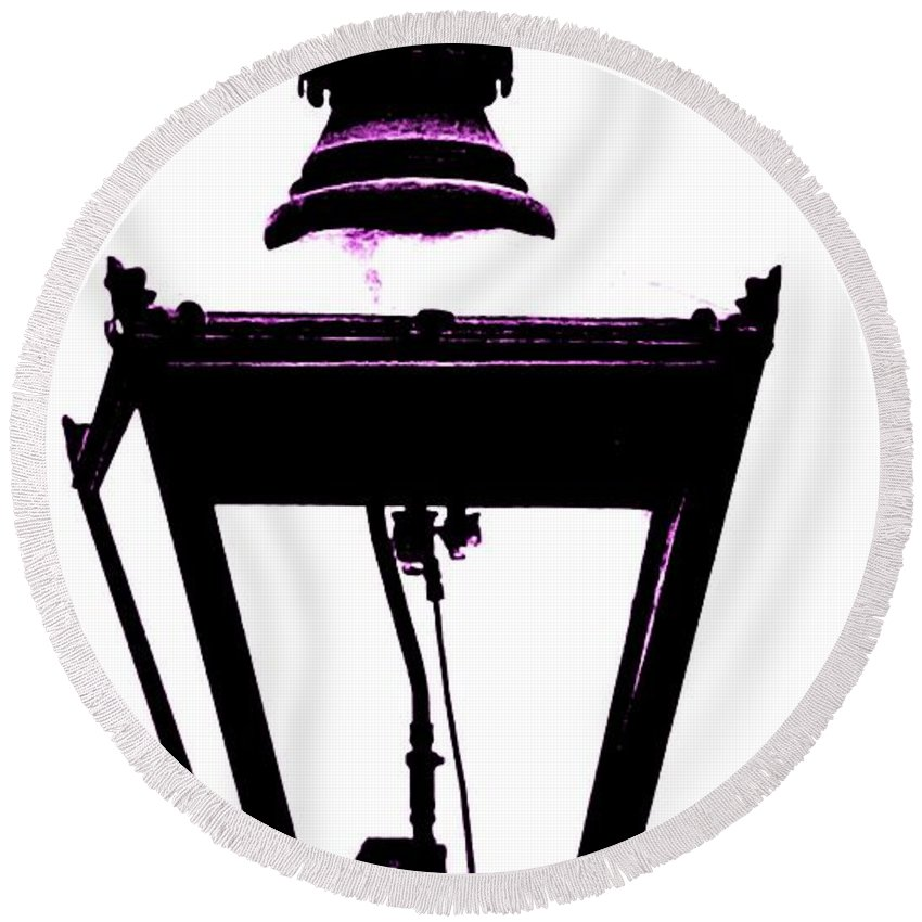 Lamp Round Beach Towel featuring the photograph Lightshade In A Hint Of Purple by Lisa Byrne