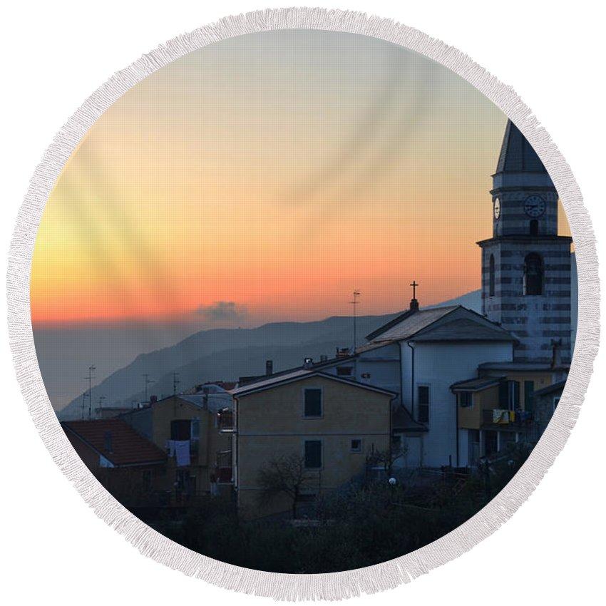 Moneglia Sunset Church Tower Ligure Ligurian Sea Coast Italian Italy Round Beach Towel featuring the photograph Ligurian Sunset by Chlaus Loetscher