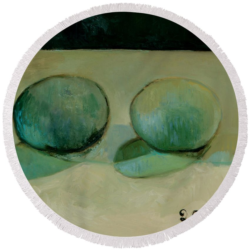 Still-life Reflection Pumpkins Round Beach Towel featuring the painting Like In The Rain by Raimonda Jatkeviciute-Kasparaviciene
