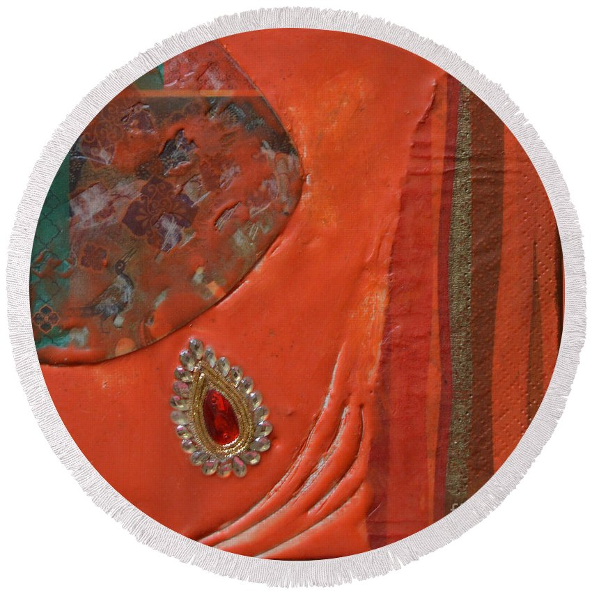 Encaustic Round Beach Towel featuring the painting Like The Fabrics Of India by Mini Arora