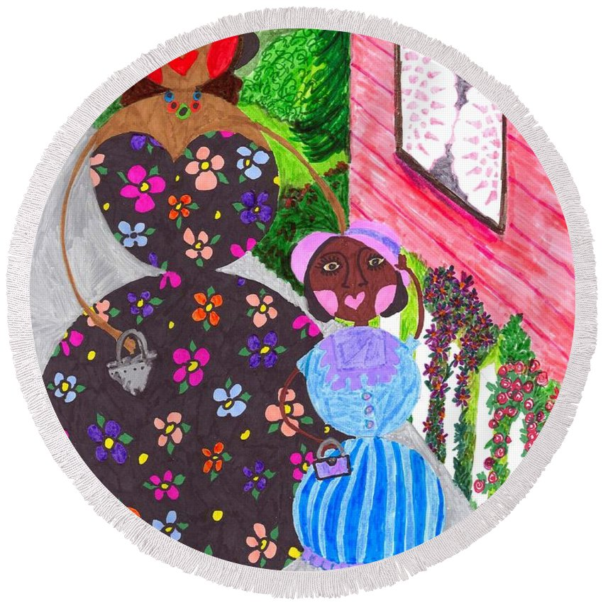 Roundabouts Round Beach Towel featuring the painting Lil Mona And Aunt Spike by Stacey Torres