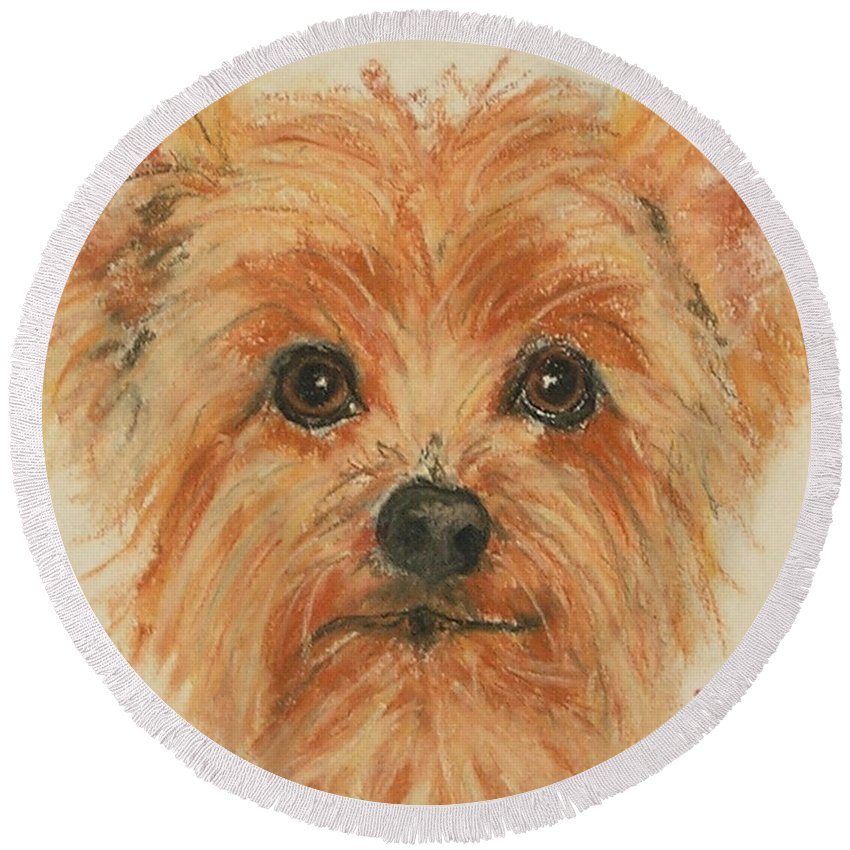 Pastel Round Beach Towel featuring the drawing Lil Rascal by Cori Solomon