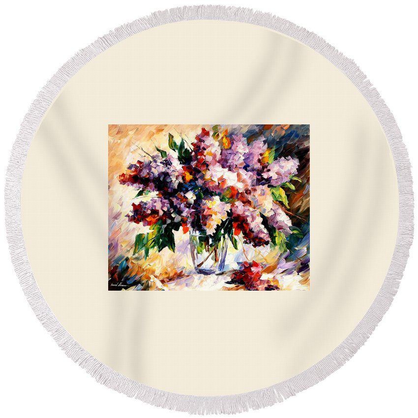 Afremov Round Beach Towel featuring the painting Lilac - Morning Mood by Leonid Afremov