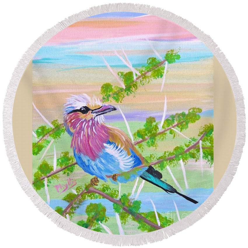 Lilac Breasted Roller Round Beach Towel featuring the painting Lilac Breasted Roller In Thorn Tree by Phyllis Kaltenbach