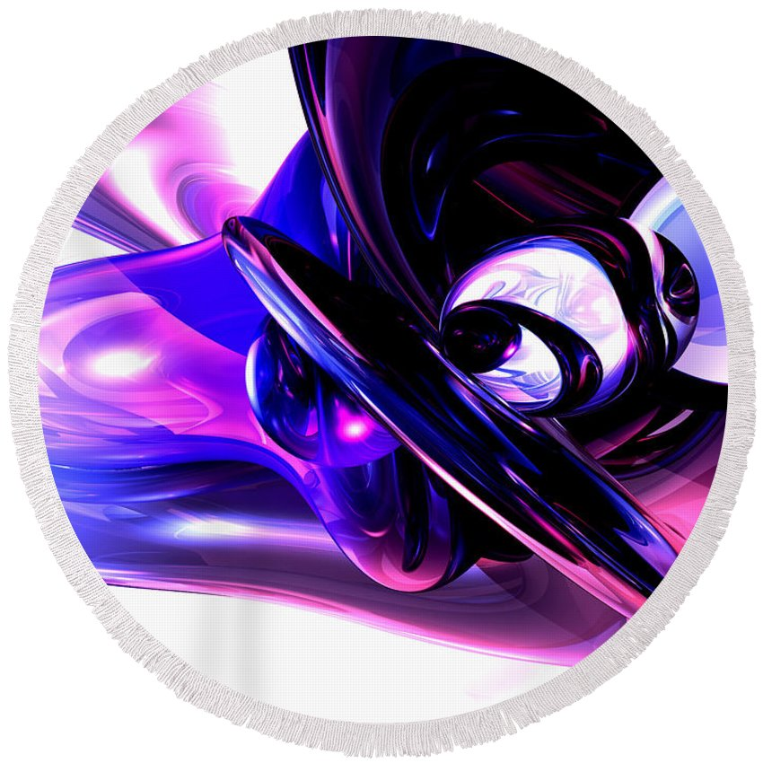 3d Round Beach Towel featuring the digital art Lilac Fantasy Abstract by Alexander Butler