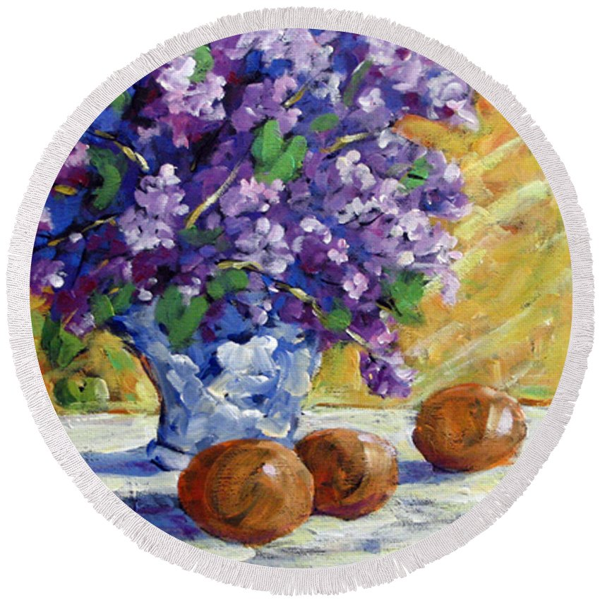 Art Round Beach Towel featuring the painting Lilac by Richard T Pranke