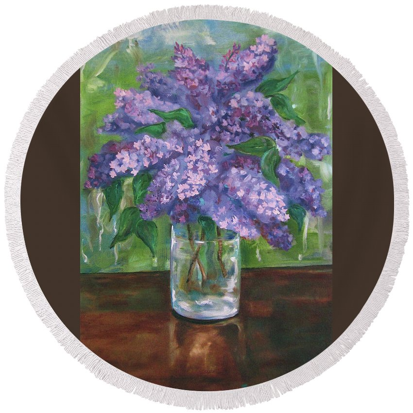 Lilacs Round Beach Towel featuring the painting Lilacs by Jennifer Christenson