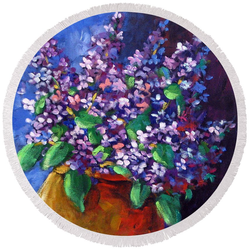 Art Round Beach Towel featuring the painting Lilacs by Richard T Pranke