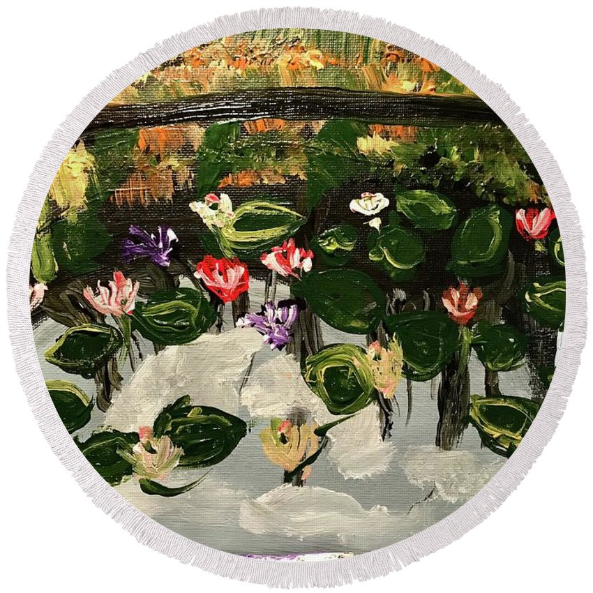 Lily Round Beach Towel featuring the painting Lilies by Richard Dalton
