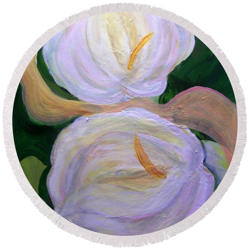 Silk Round Beach Towel featuring the painting Lilies With Chiffon by Patricia Taylor