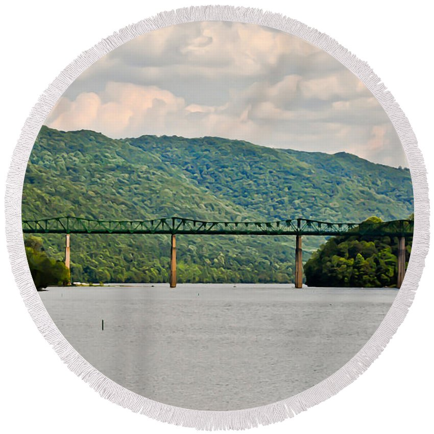 Lilly Bridge Round Beach Towel featuring the photograph Lilly Bridge - Hinton West Virginia by Kerri Farley