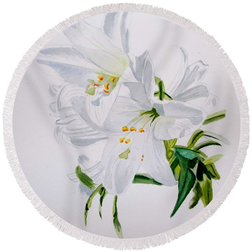 Lily. Flower Round Beach Towel featuring the painting Lily 2 by Nicole Curreri