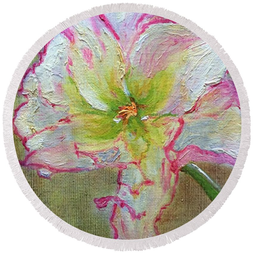 Lily Round Beach Towel featuring the painting Lily From Paradise by Paula Emery