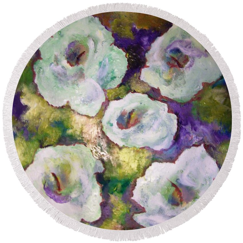 Lily Round Beach Towel featuring the painting Lily Garden With Shadows And Light by Patricia Taylor
