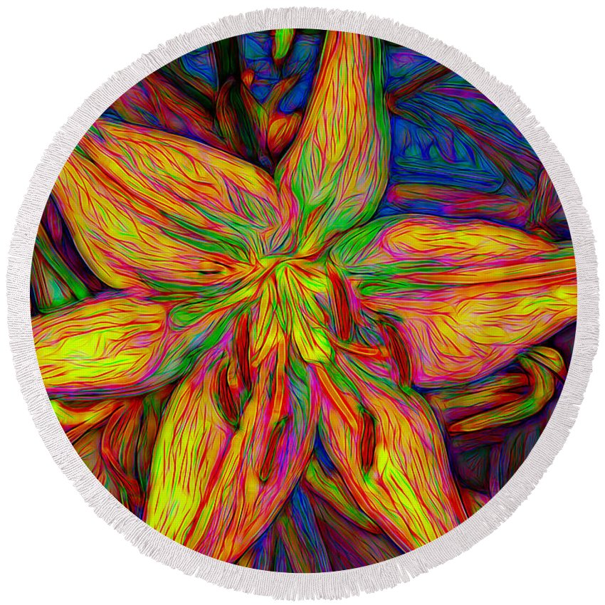 Lily Round Beach Towel featuring the mixed media Lily In Abstract by Debra Lynch